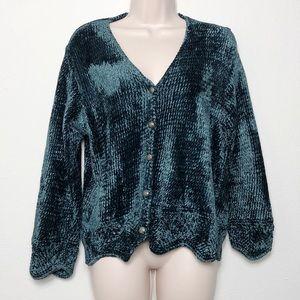 Blue Super Soft HandKnit Button Sweater